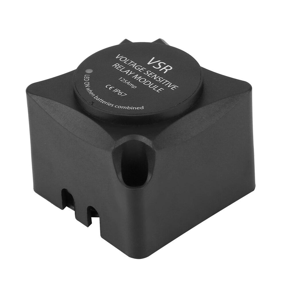 Accesorios para el coche relé sensible a la tensión (VSR)/relé de carga automática 125A aislador de batería Dual (VSR) relé de batería de coche negro