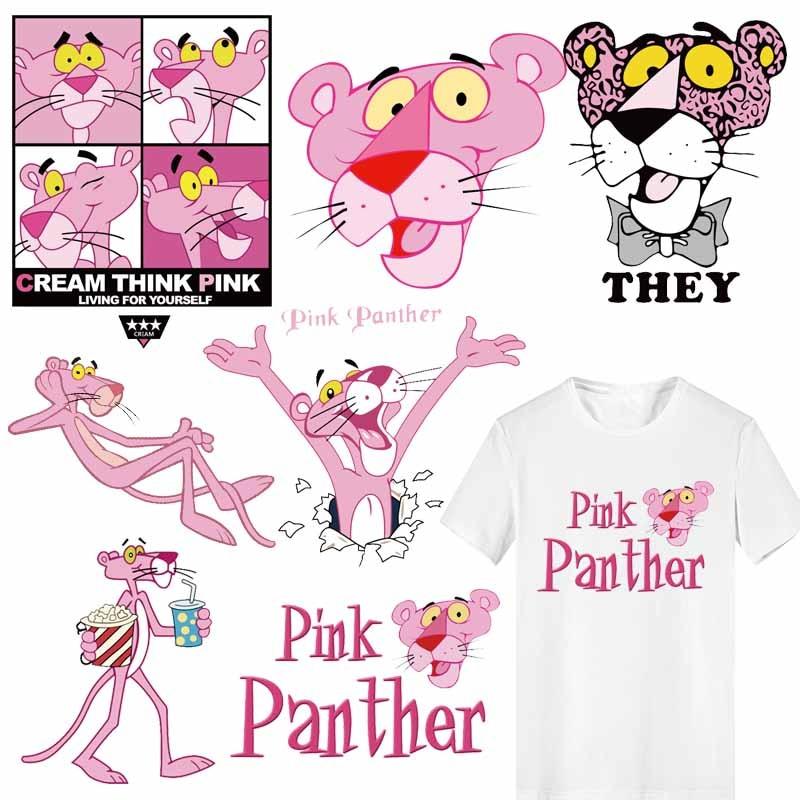 Переводные виниловые нашивки «Розовая пантера» для родителей и детей аппликация на одежду, термо-Стикеры для одежды, полоски на одежде