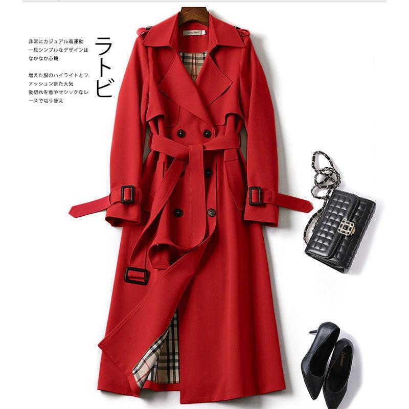 المرأة طويلة معطف واقٍ من المطر 2021 جديد الخريف التلبيب مزدوجة الصدر ضئيلة سترة واقية الكورية أنيقة مربوط الصلبة معطف السيدات أبلى