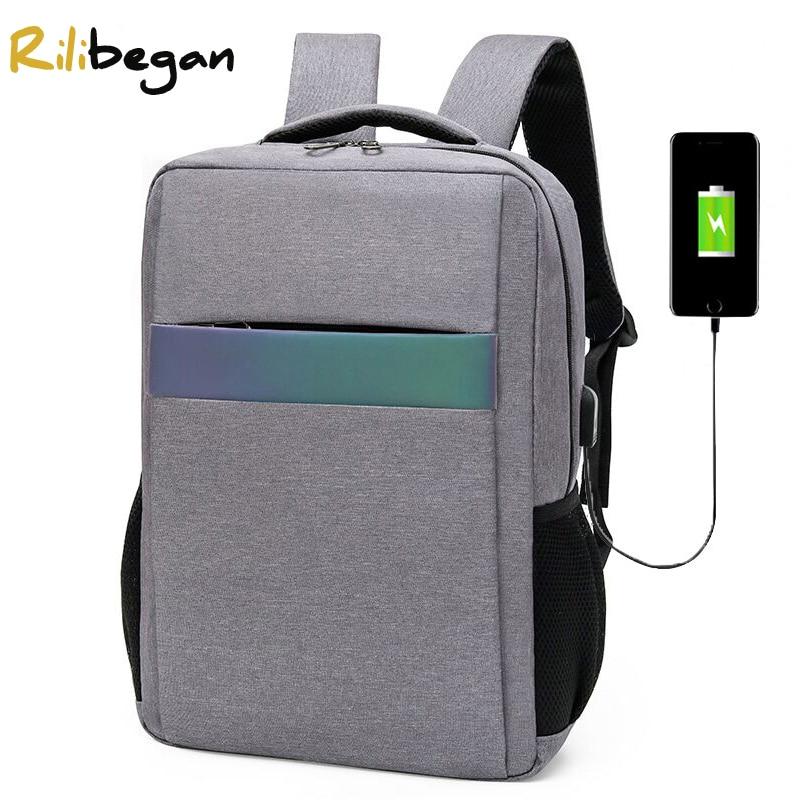 عالية الجودة النايلون USB شحن الرجال على ظهره شريط عاكس حقيبة ظهر للعمل الرجال سعة كبيرة الرجال حقيبة كمبيوتر محمول على ظهره