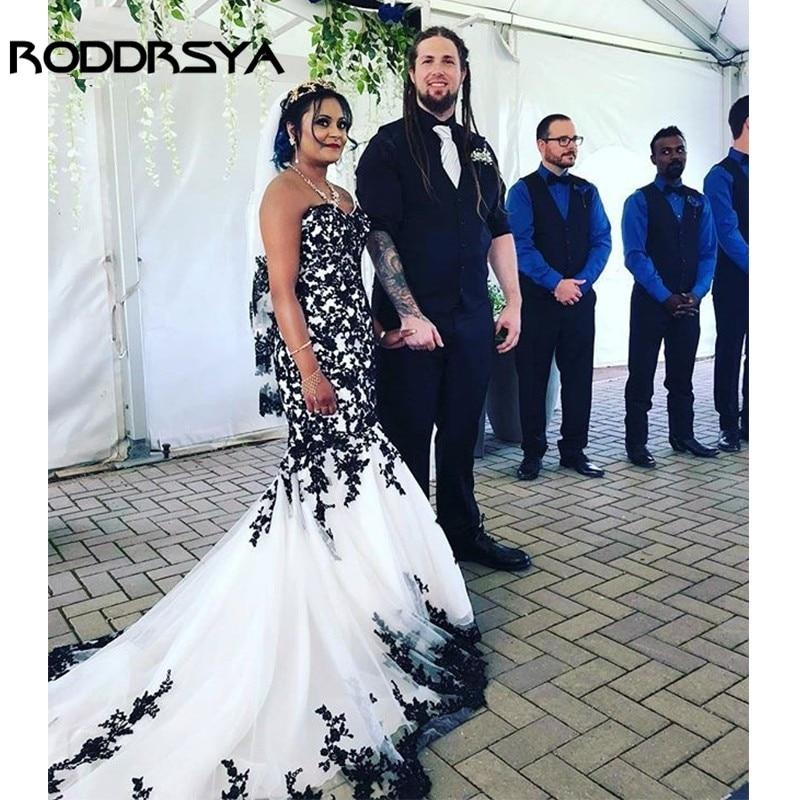 RODDRSYA-فستان زفاف بقصّة حورية البحر ، زي أفريقي ، أسود ، أبيض