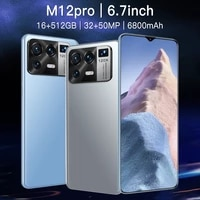 global version smartphone m12pro 6 7inch 16gb512gb android11 deca core 5g 6800mah 32mp50mp mtk6899 telephone really celulares