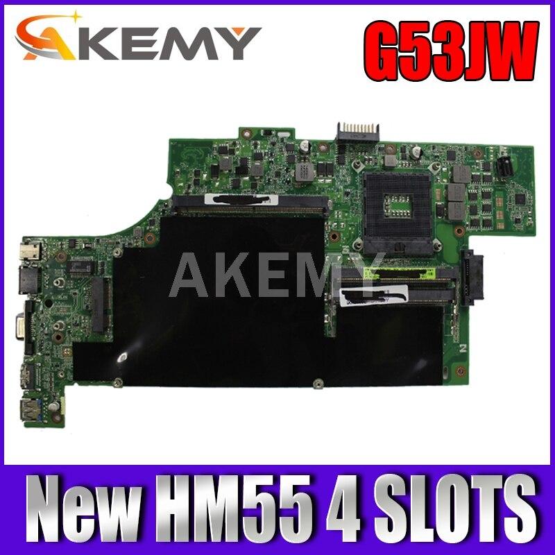 لوحة أم للكمبيوتر المحمول ASUS G53JW G53J G53 HM55 4 فتحات تم اختبارها 100٪ لوحة رئيسية أصلية للعمل