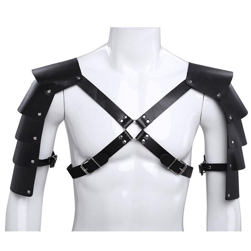 ¡Superventas! arnés de cuerpo punk para hombre, cinturón de pecho, lencería para hombre, Faux cuero, hebillas ajustables, protector de hombro, trajes de armadura