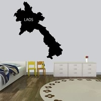 creative map laos wall sticker removable self wallpaper adhesive watercolo living room childrens room wall decoration
