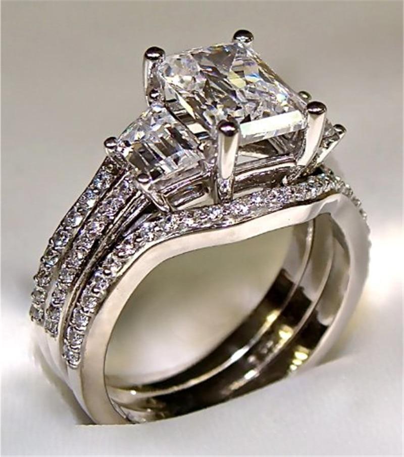 خاتم خطوبة من الفضة الإسترليني عيار 925 مرصع بالألماس ، خاتم زواج ، ذهب أبيض عيار 10 قيراط ، 3 قيراط ، للنساء والرجال