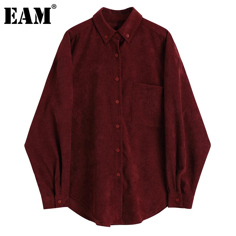 [EAM] Women Vintage Corduroy Red Big Size Blouse New Lapel Long Sleeve Loose Fit Shirt Fashion Tide Spring Autumn 2021 1DD5049