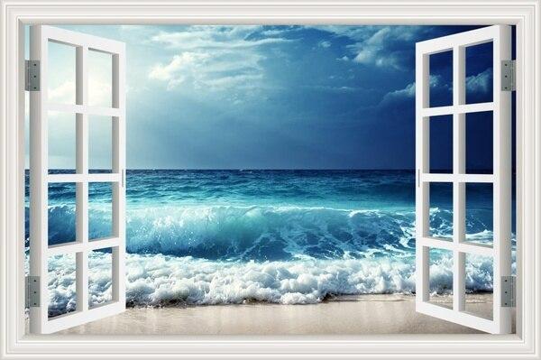 Pegatinas creativas 3D Full color Cloudy mar Wave View False Faux ventana Marco ventana Mural vinilo pared del dormitorio