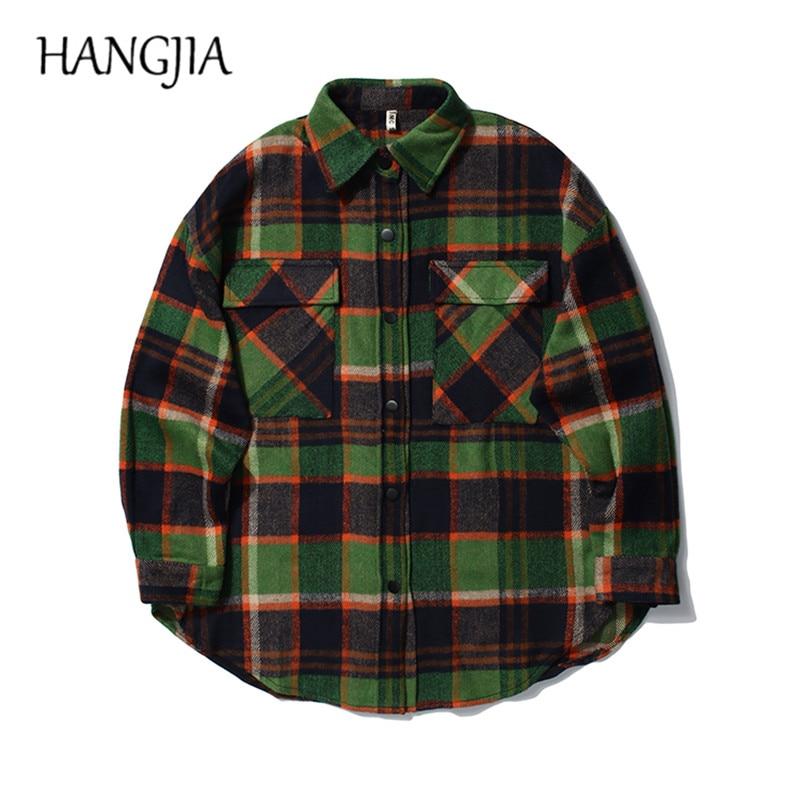 Colorblock شعرية سترة القمصان الهيب هوب الصوفية منقوشة قميص سترة المتضخم الرجال مخطط السترات أبلى الخريف الشتاء