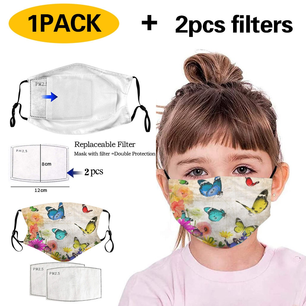 Kids Anti Pollution PM2.5 Cotton Animal Print Mouth Maske Filter Papers Pad Kids Anti-Dust Maske Activated Carbon Filter Maske