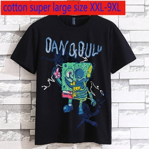 New Arrival High Quality Cotton Extra Large Fashion Loose Short Sleeve Casual O-neck Print Knitted T Shirt Plus Size 2XL-7XL 8XL