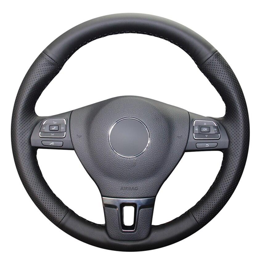 Zwart Pu Kunstleer Diy Handsewing Auto Stuurhoes Voor Volkswagen Vw Gol Tiguan Passat B7 Passat Cc Touran jetta MK6