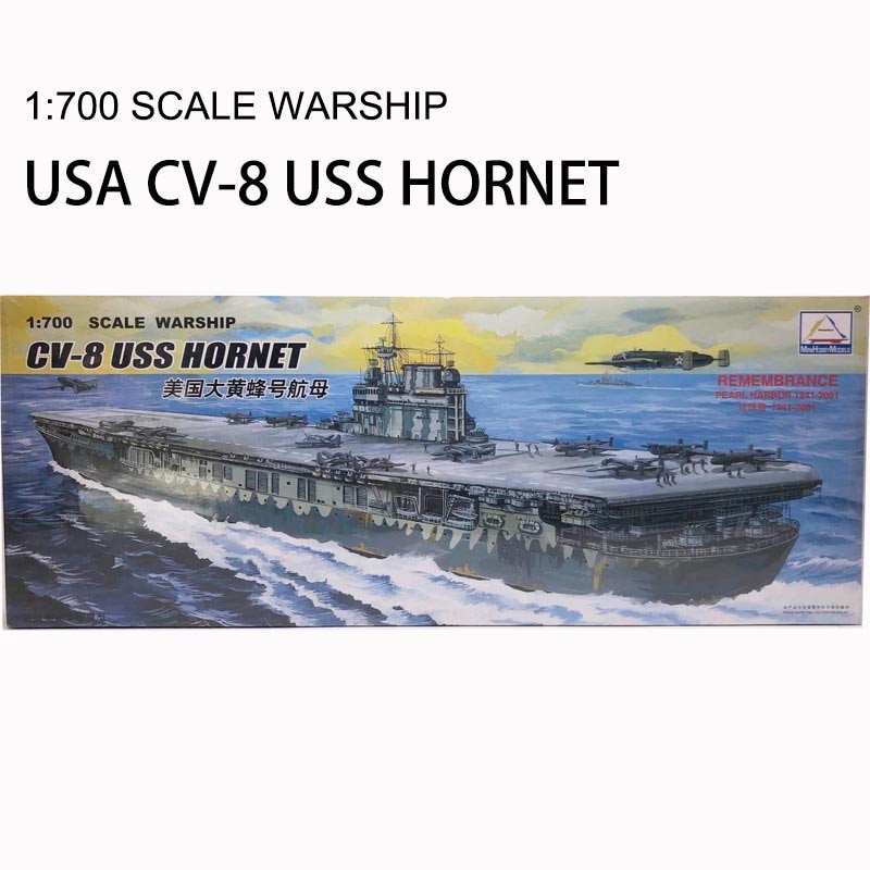 30CM buque de guerra de la Segunda Guerra Mundial CV-8 USS HORNET portaaviones montaje de plástico en miniatura juguete eléctrico