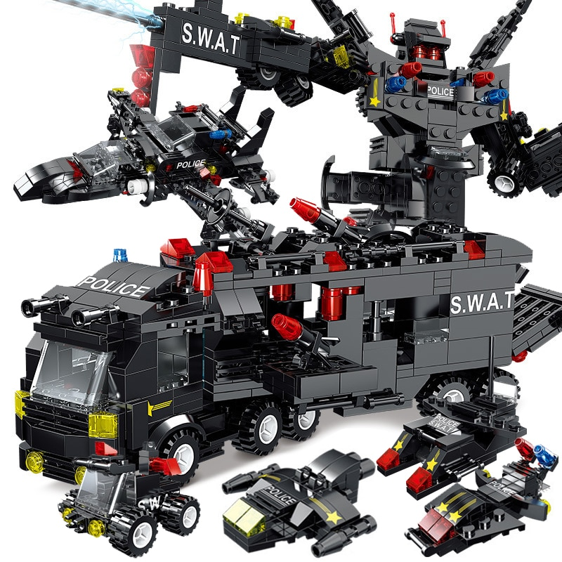 8IN3 SWAT City Police Station Building Blocks Playmobiled City Car Truck Creative Bricks Toys For Children Boys Gifts building blocks city police station swat model fire fighting friends fingure bricks educational toys for children