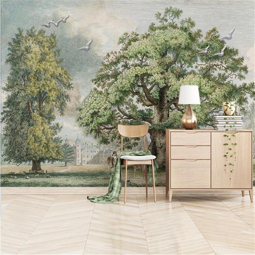 Пользовательские фото обои Milofi домашний декор Европейский лес большое дерево Лось масляная живопись фон настенная роспись
