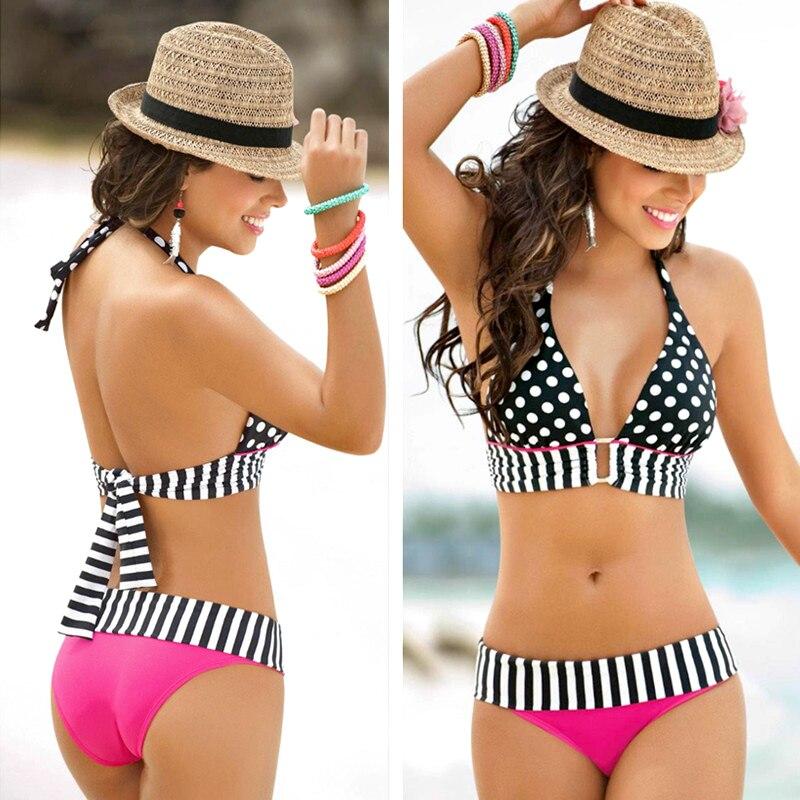 2021New Beachwear High Waist Push Up Bikinis Sexy Retro Wave Point Split Halter Brazilian Bikinis Set Swimsuits Women One Peice women s active high waist wave point culotte