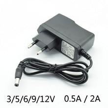 Adaptateur convertisseur ca avec lampe DC 3V2A 5V2A 6V 2A 9V 12V 0,5a 500mA 15V 1A   Chargeur électrique, prise ue 5.5mm * 2.5mm(2.1mm)