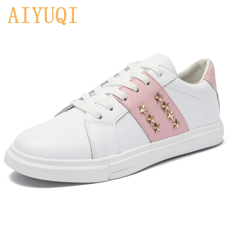AIYUQI Women Sneakers Genuine Leather 2021 New Lace UP White Girls Shoes Flat Women's Running Shoes Casual Student Shoes Women