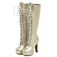 fashion women boots lace up sexy super high heels platfrom %c2%a0thick sole mid calf boots spring winter martin boots plus size 46
