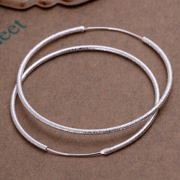 2019 real! Серебряный цвет 925 серебряный цвет кольцо с песком большие серьги диаметр 4 см/50 мм подходит для девочек