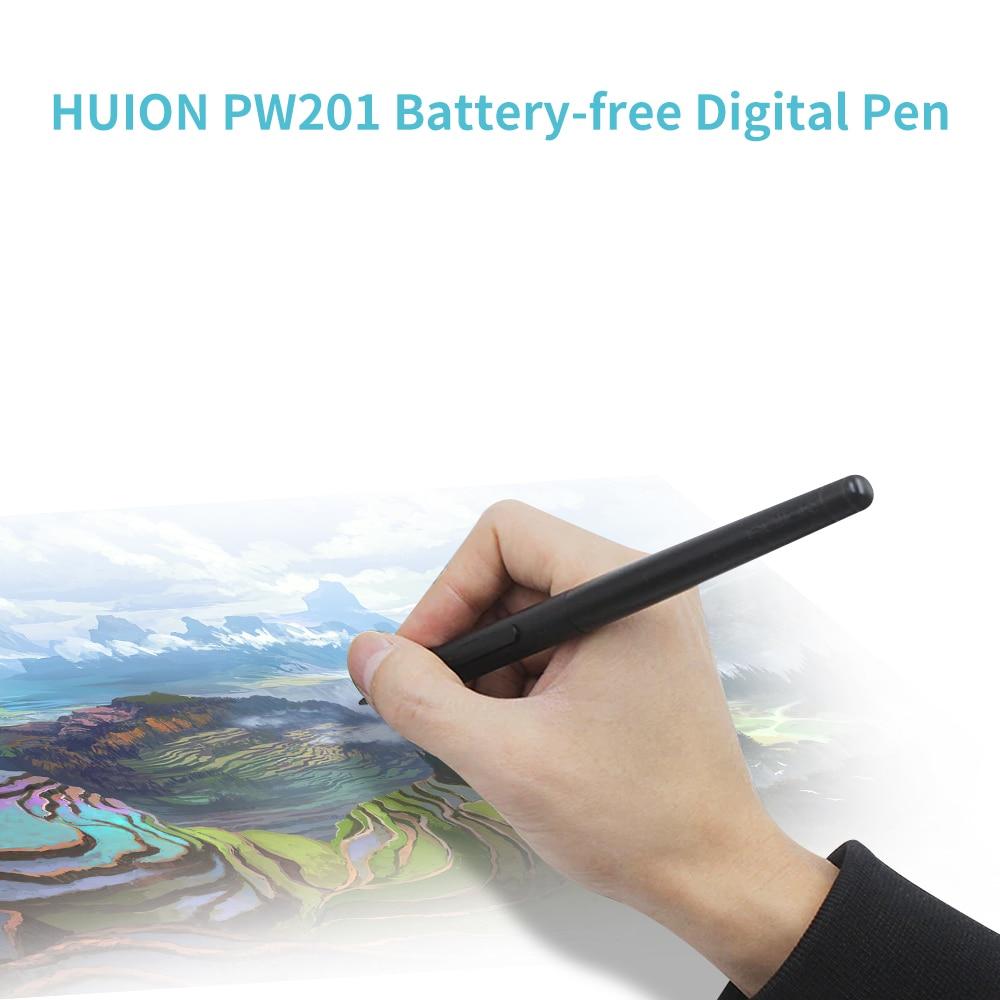 قلم رقمي Huion PW201, قلم رقمي Huion PW201 مع 4096 مستوى قلم رقمي بدون بطارية مع 2 زر قابل للبرمجة للكمبيوتر اللوحي الرسم Huion H430P