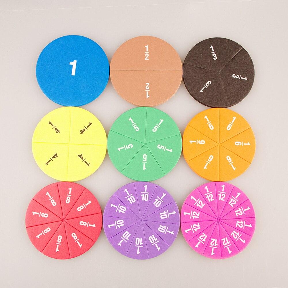Jetons de comptage de Fractions numériques circulaires Montessori, jouets éducatifs mathématiques, matériel dapprentissage des mathématiques pour enfants, cadeau, 51 pièces