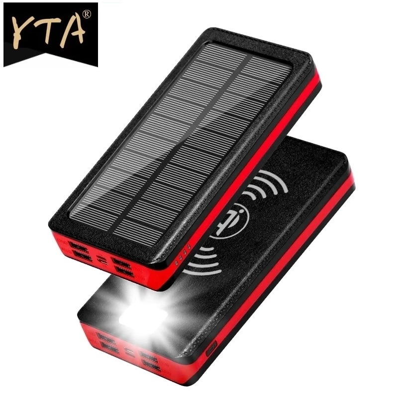 80000mAh Solar Wireless Power Bank Portable Charger with Large Capacity 4usB External Battery Fast Charging for Xiaomi IPhone