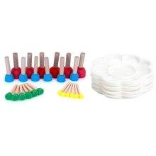2 Set Painting Tools Foam Pouncer Assortment-Sponge Painting Stippler Set -Foam Brush Value Pack with Plastic Nail Art Paint Col