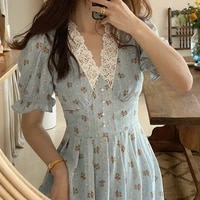 2021 women autumn floral cottagecore dress elegant vintage korean fashion lace chiffon dresses v neck puff sleeve midi vestidos