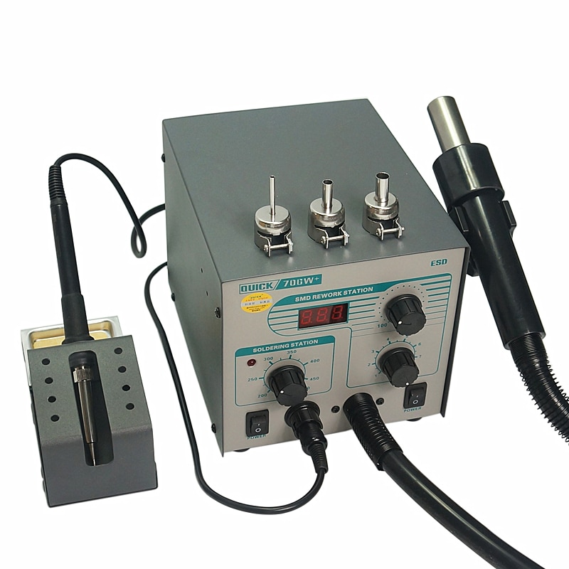 Original Quick 706W+ Hot Air Gun Soldering Iron Anti-static Temperature Lead-free Rework Station 2 in 1 With 3 Nozzles and Kit