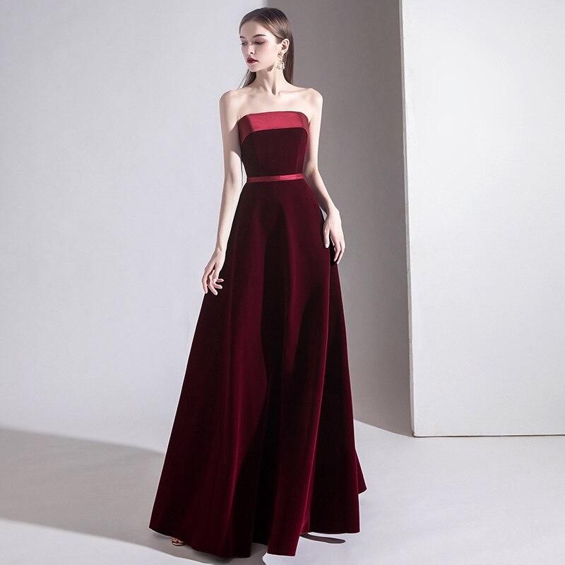 FZSLCYIYI-فستان سهرة عتيق ، بسيط ، عصري ، عنابي ، توب أنبوبي ، مخمل ، طويل ، للحفلات الراقصة ، شيونغسام تشيباو