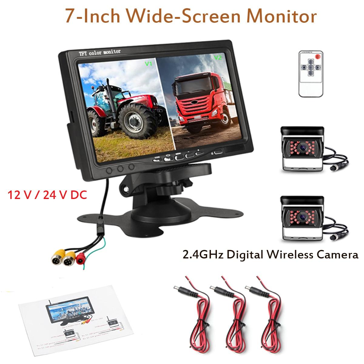 Get 12V 24V 7″ Wireless Monitor Reversing Camera Rear View Kit Fit for Truck CARAVAN Boat