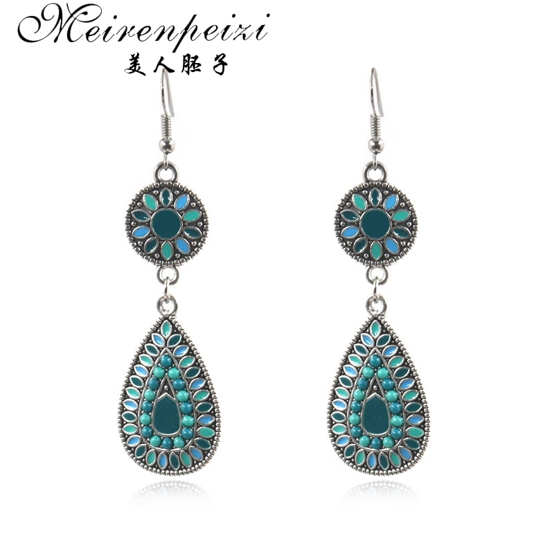 Meirenpeizi Vintage Boho Ethnic Water Drip Hanging Dangle Drop Earrings for Women Female  Wedding Party Jewelry Accessories