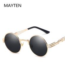 Classic Vintage Steampunk Sunglasses Men Women Round Metal Sunglasses Brand Design Fashion Glasses T
