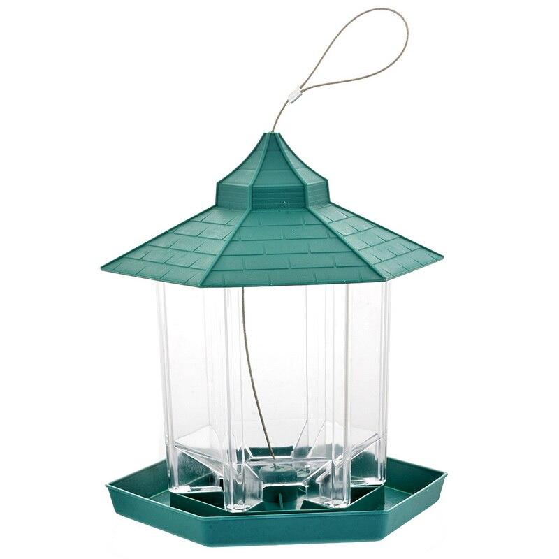Verde pendurado gazebo alimentador de pássaro semente recipiente comida venda quente janela visualização pássaro alimentador mesa do hotel ao ar livre