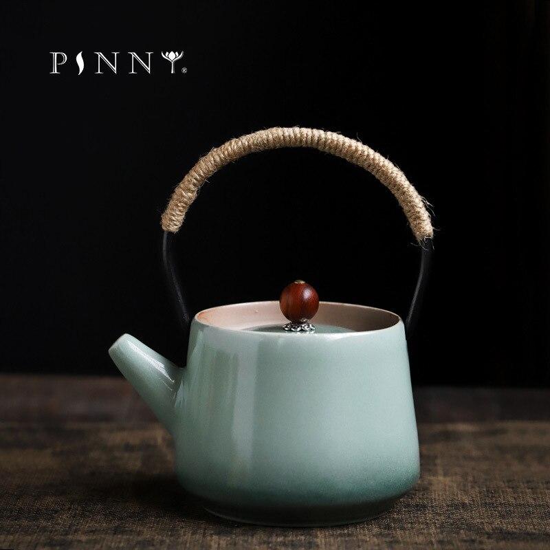 بيني 200 مللي ريترو سيلادون المحمولة إبريق الشاي النمط الياباني فرن تغيير براد شاي مقاومة للحرارة الكونغ فو الشاي خدمة