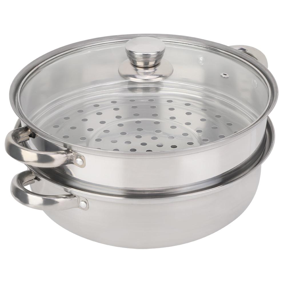 27 سنتيمتر/11in سميكة مقبض أواني مصنوعة من الفولاذ المقاوم للصدأ 2 طبقة إناء طهي بالبخار طباخ مزدوج المرجل الحساء تبخير وعاء