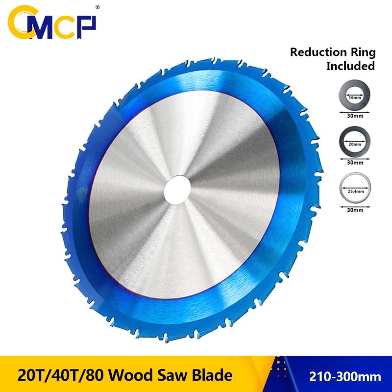 CMCP Carbide Wood Cutting Disc 210 250 255 300mm Circular Saw Blade Nano Blue Coated TCT Saw Blade 24T 28T 40T 80T Saw Blade