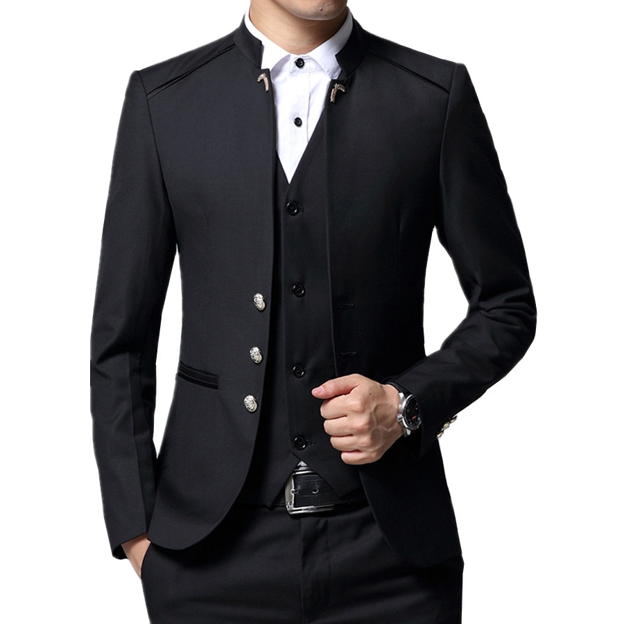 Black Formal Suit Men Blazer Jackets and Pants Fashion Business Mens Suits Size 4XL Wedding Suits for Man 2019