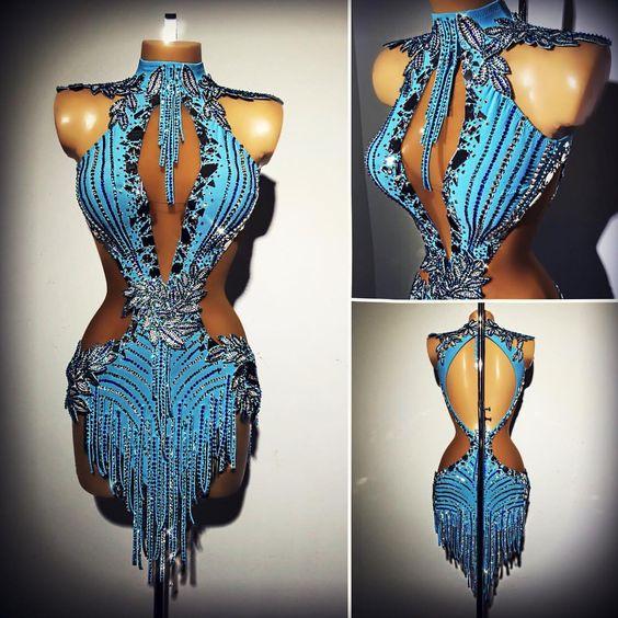 Vestido da senhora vestido latina dança latina para as mulheres traje dança latina desgaste latin para a competição vestido latin sexy turquesa GOODANPAR