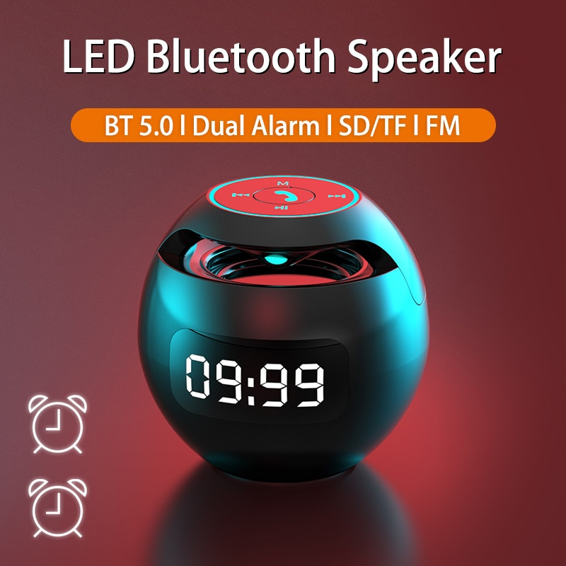Mini altavoz bluetooth Portátil con Bluetooth Radio FM despertador LED 2000mAh altavoces...