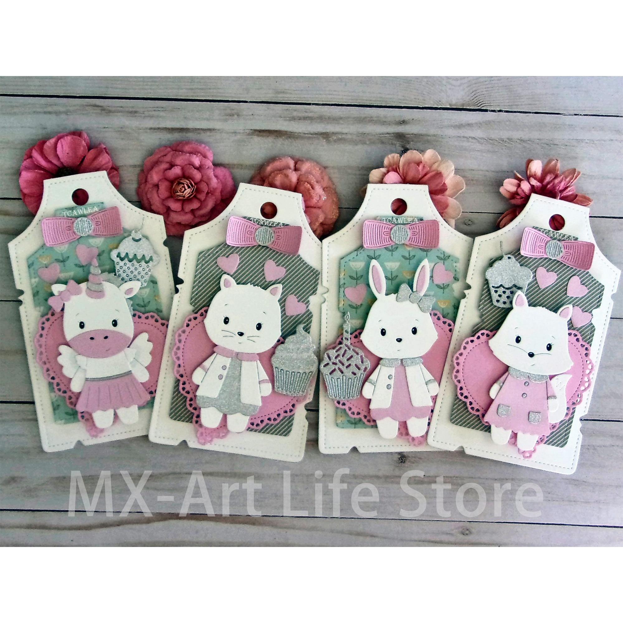 Lovely Unicorn Rabbit Fox Cat Bear Metal Cutting Die Animal Doll DIY Scrapbooking Paper Cards Decorative Craft Embossing