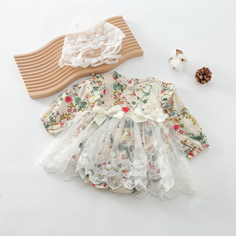 Винтажное боди для маленьких девочек, кружевное платье для новорожденных, детский цветочный комбинезон, подарки, платья для девочек на день...