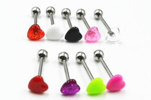 Free Shipping 100pcs Body Jewelry Glitter Heart Tongue/ Nipple Ring Barbells Straight Bar 14G~1.6mmX16MM Body Piercing Jewelry