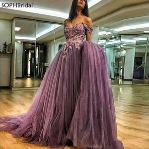 Newest Dubai Kaftan Saudi Arabic A-Line Evening Dresses Off The Shoulder Party Tulle Islamic Long Formal Dress Purple Prom Gown