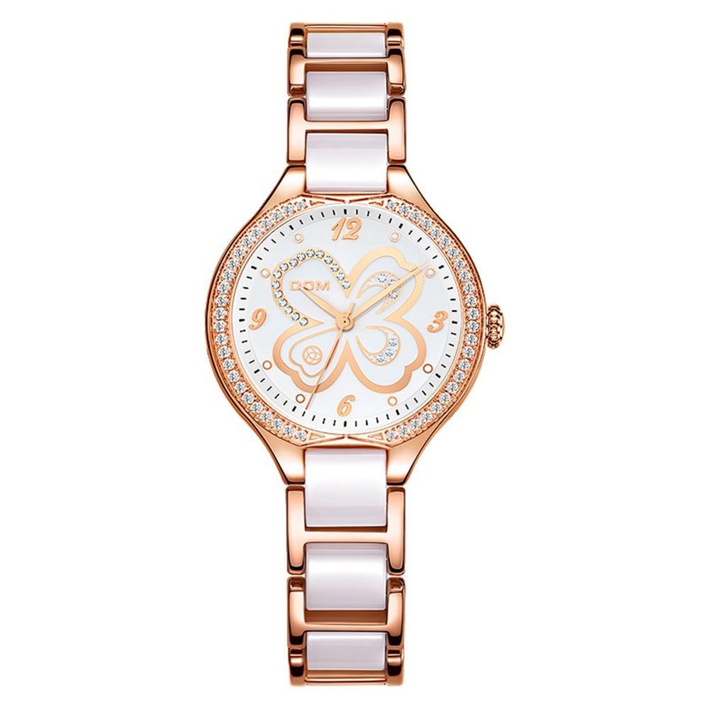 Fashion Women Diamonds Wrist Watches Ceramics Watchband Top Luxury Brand Dress Ladies Geneva Quartz Clock enlarge