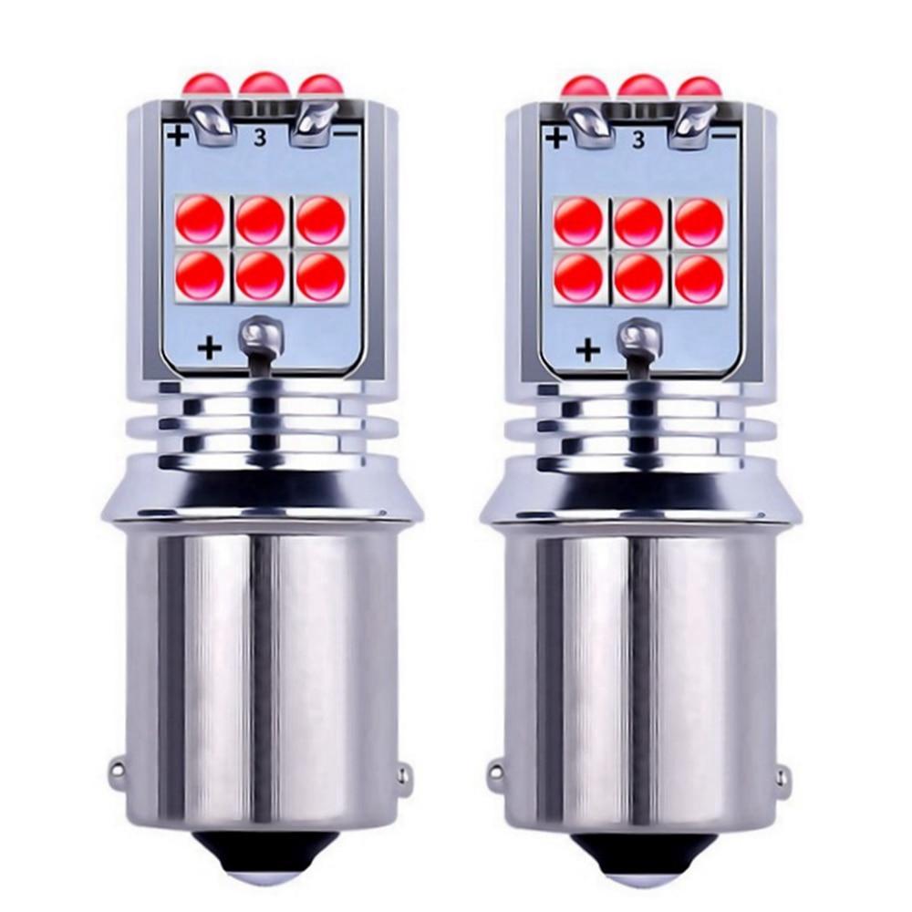 2 uds 1156 BA15s 7506 P21W R10W R5W Super brillante 1800Lm LED de señal de giro de coche de freno de luces antiniebla traseras luces diurnas
