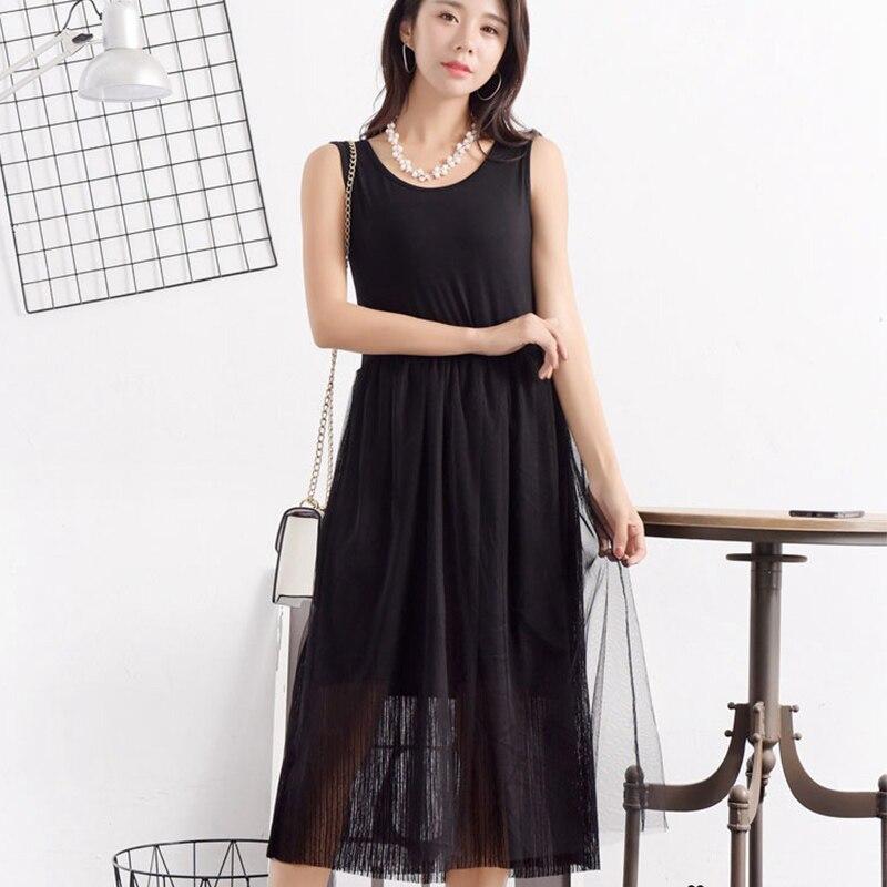 Verão casual doce vestido feminino roupas sólido preto branco modal sem mangas underdress vestido feminino meados de bezerro u540