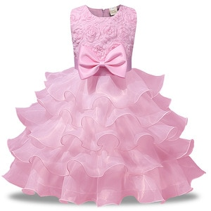 Pink Blue Red Beige Kids Flower Girl Dresses Beautiful Puffy Sleeve Layered Evening Gowns for Girl Child for Party and Wedding