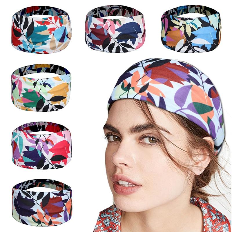 Flower print yoga Headbands Women Elastic Leaves Hairbands wide Headband Sport Gym Run Sweatband Turban Headwrap Girls Headband elastic lacework wide sport headband